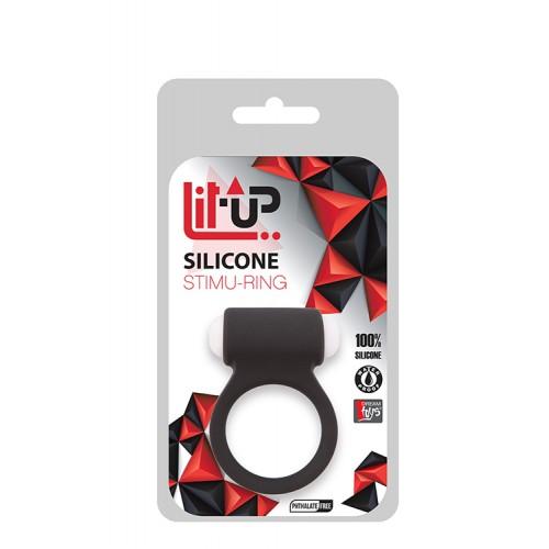 Вибриращ пенис пръстен от силикон Lit-Up черен [1]