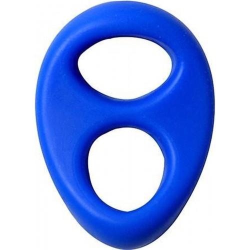 Двоен пенис пръстен от течен силикон Lit-Up син