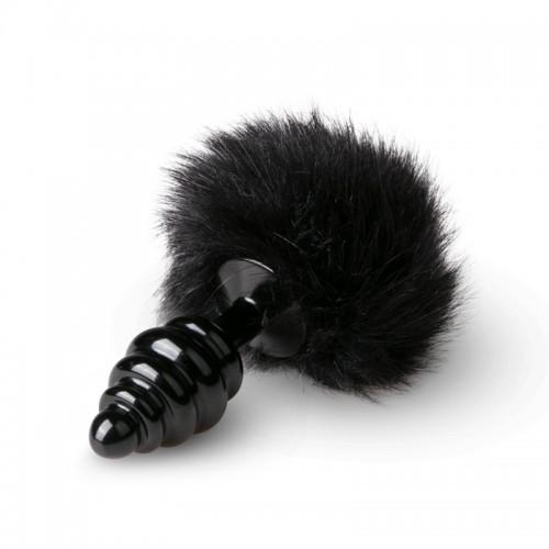 Метален анален разширител с пухкава опашка Bunny черен [1]