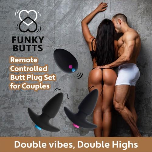 Вибриращи анални разширители за двойки с безжично дистанционно Funky Butts [5]