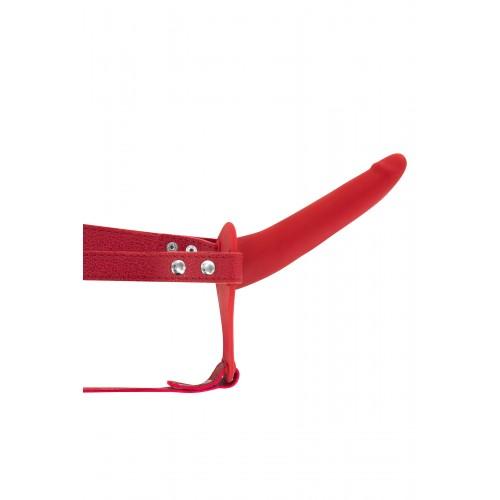 Вибриращ страп-он колан с дилдо от силикон Fetish Tentation червен [1]