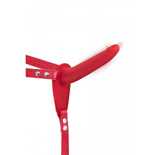 Вибриращ страп-он колан с дилдо от силикон Fetish Tentation червен