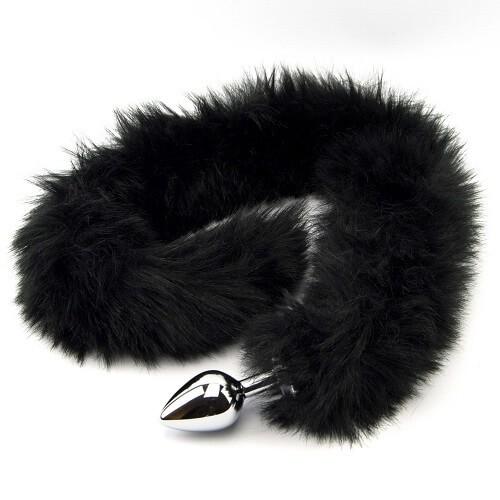 Метален анален разширител с дълга пухкава черна опашка Black Panther