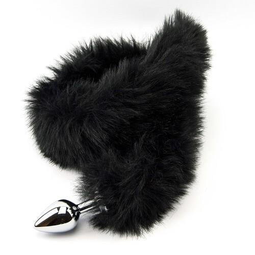 Метален анален разширител с дълга пухкава черна опашка Black Panther [3]
