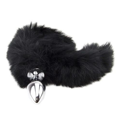 Метален анален разширител с дълга пухкава черна опашка Black Panther [4]