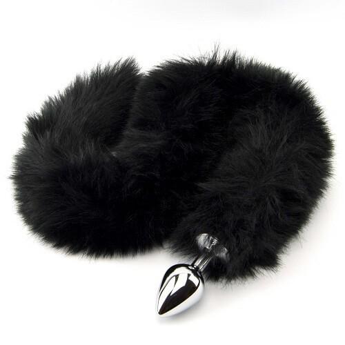 Метален анален разширител с дълга пухкава черна опашка Black Panther [1]