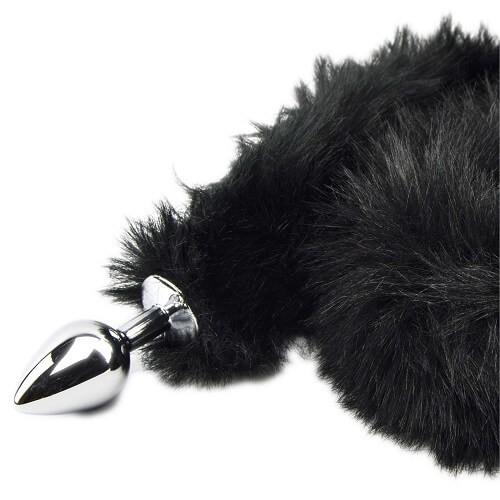 Метален анален разширител с дълга пухкава черна опашка Black Panther [5]