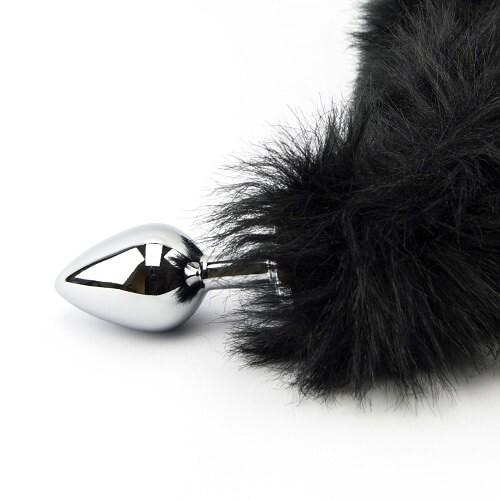Метален анален разширител с дълга пухкава черна опашка Black Panther [6]