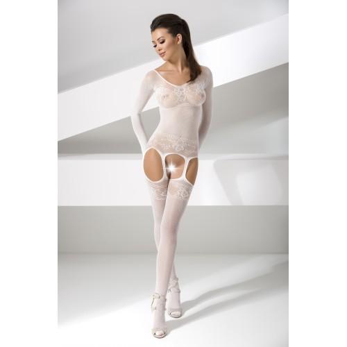 Секси боди с дълъг ръкав и отворено дъно Passion 055 бяло