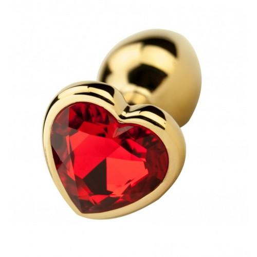 Метален анален разширител в златисто с кристал-сърце Precious