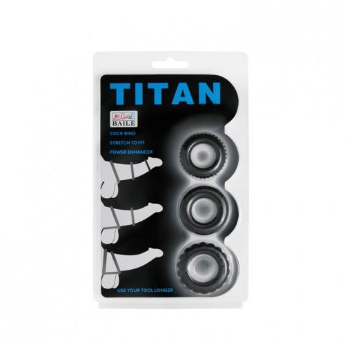 3 бр. релефни пенис пръстени от силикон Titan  [5]