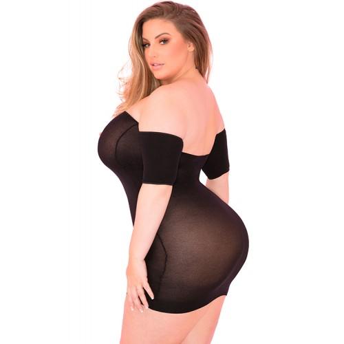 Елегантна рокля с голи рамене Pink Lipstick черна размер Plus [1]