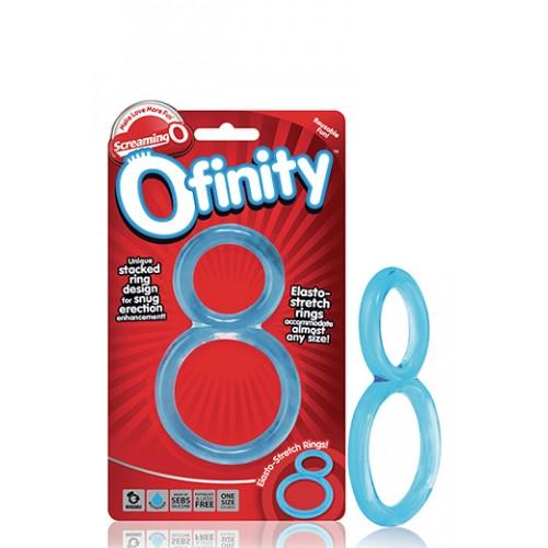 Двоен пенис пръстен Ofinity прозрачно-син [3]