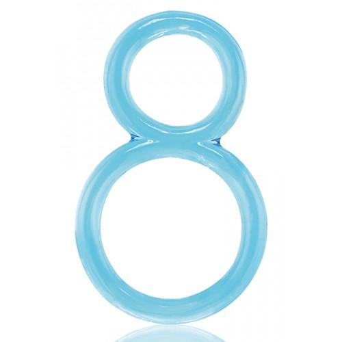 Двоен пенис пръстен Ofinity прозрачно-син