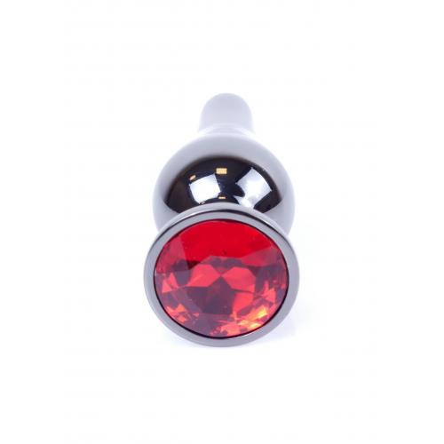 Метален анален разширител в тъмносиво с червен кристал Dark Silver Butt Plug [5]