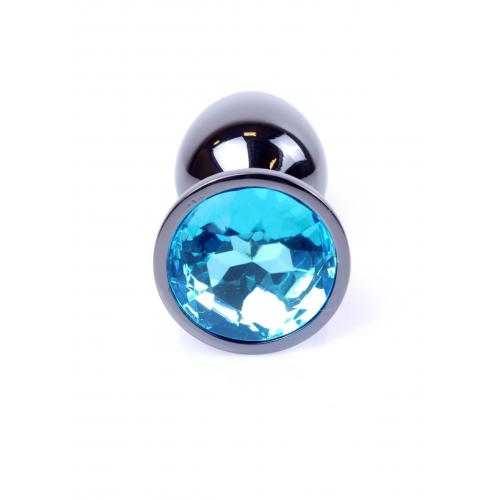 Малък метален анален разширител в тъмносиво със син кристал Dark Silver Plug [5]