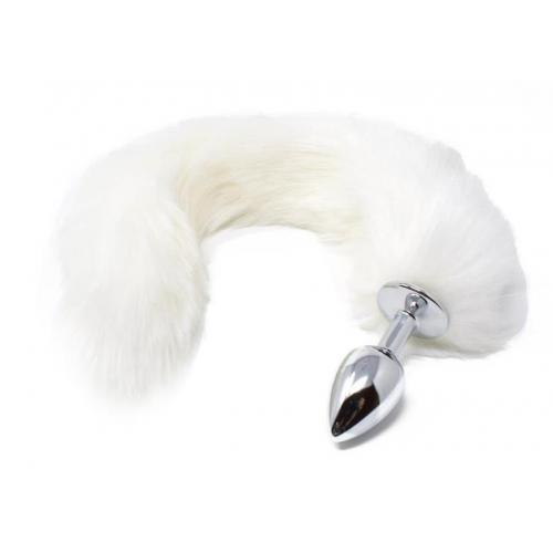 Малък анален разширител в сребристо с пухкава бяла лисича опашка Fox Tail