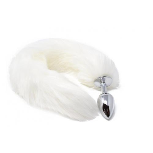 Малък анален разширител в сребристо с пухкава бяла лисича опашка Fox Tail [3]