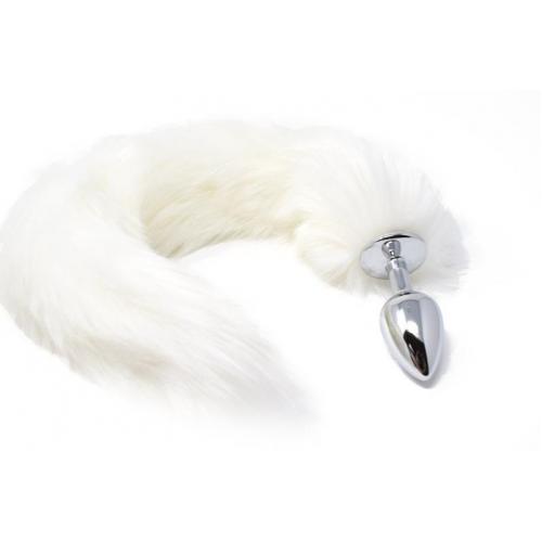 Малък анален разширител в сребристо с пухкава бяла лисича опашка Fox Tail [1]