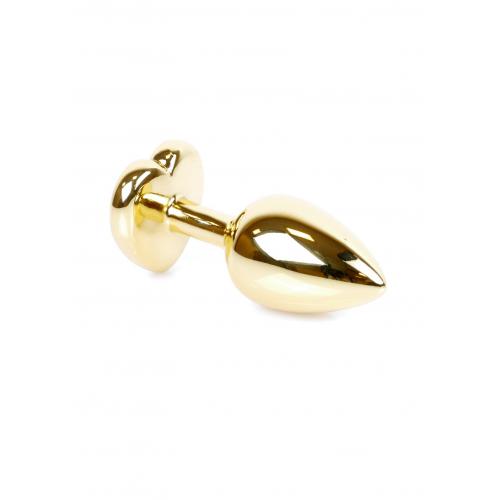 Малък метален анален разширител в златисто с лилав кристал-сърце Gold Plug [1]