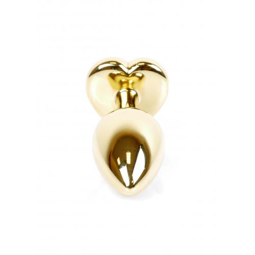 Малък метален анален разширител в златисто с лилав кристал-сърце Gold Plug [3]