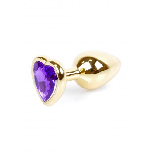 Малък метален анален разширител в златисто с лилав кристал-сърце Gold Plug