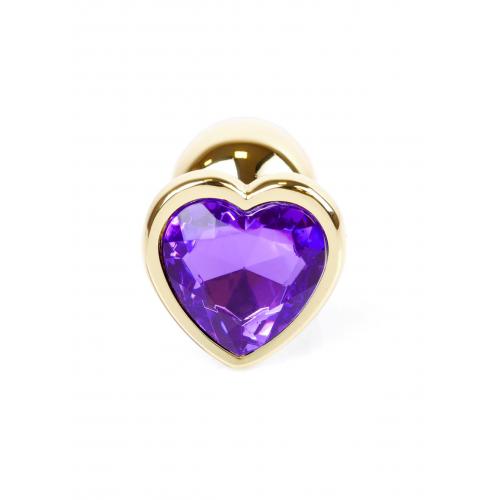 Малък метален анален разширител в златисто с лилав кристал-сърце Gold Plug [4]