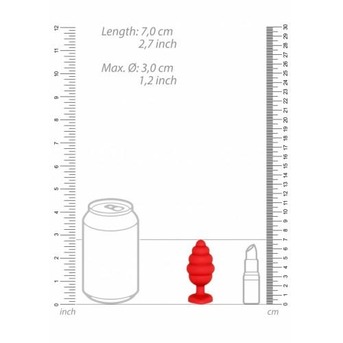 Малък анален разширител Ouch! от силикон с кристал-сърце червен [5]