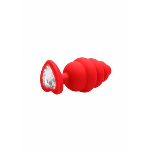 Малък анален разширител Ouch! от силикон с кристал-сърце червен [1]