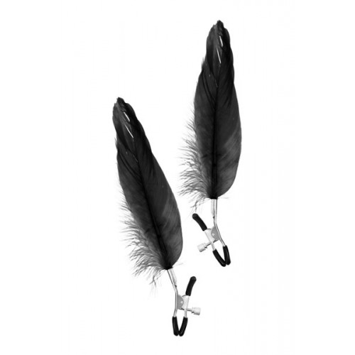 Щипки за зърна с дълги пера Fetish Excellence черни
