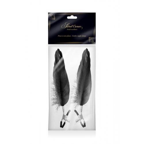 Щипки за зърна с дълги пера Fetish Excellence черни [1]