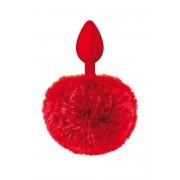 Анален разширител от силикон с пухкава опашка Sweet Caress червен