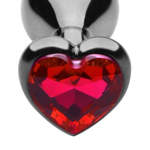 Метален анален разширител в сребристо с червен кристал сърце Fetish Art L [1]
