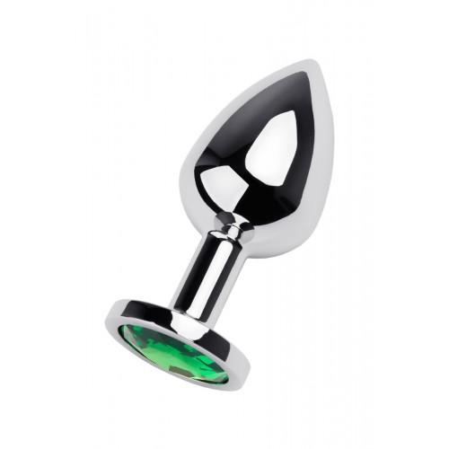 Метален анален разширител-бижу със зелен кристал Metal