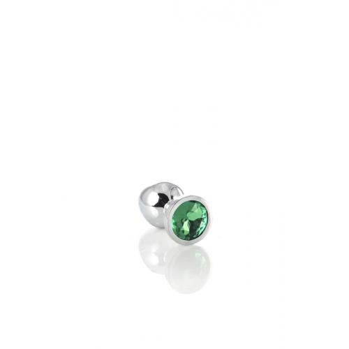 Метален анален разширител-бижу със зелен кристал Metal [4]