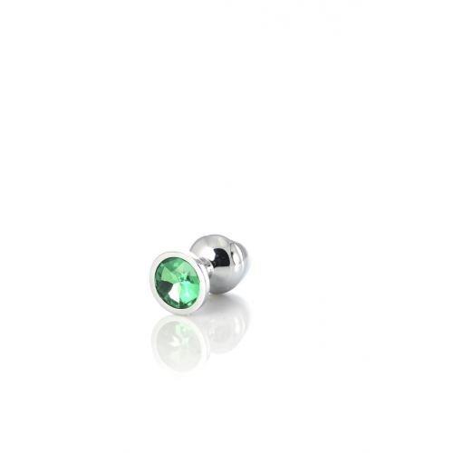 Метален анален разширител-бижу със зелен кристал Metal [5]