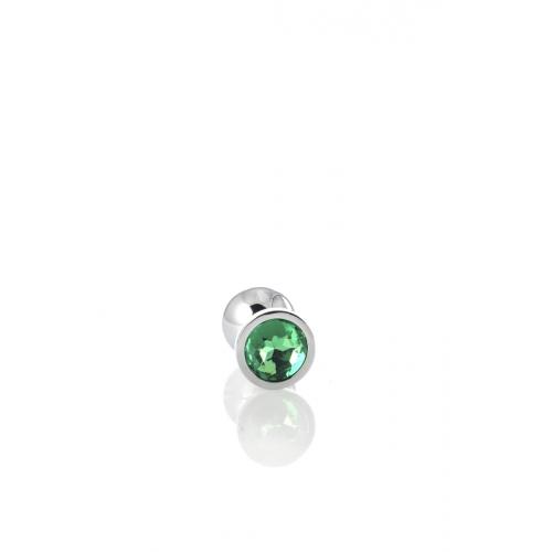 Метален анален разширител-бижу със зелен кристал Metal [3]