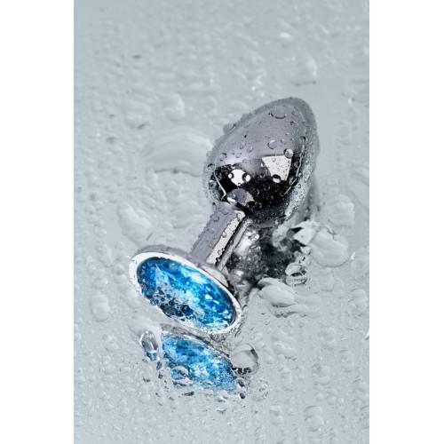Малък метален разширител-бижу със син топаз Toyfa [7]