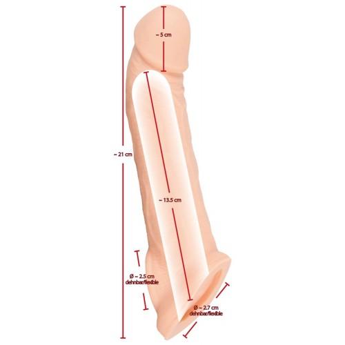 Пенис удължител и удебелител от кибер кожа с пристегач Nature Skin [5]